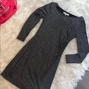 Loft Medium Petite Gray Fitted Dress
